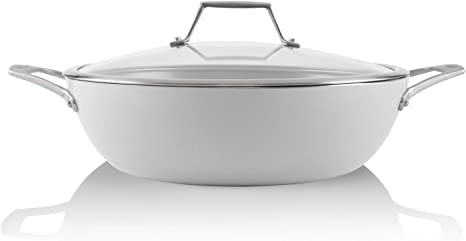 Techef Ceraterra 5 Qt 12 In Ceramic Nonstick All Purpose Chef Pan With Cover Ptfe And Pfoa Free Ceramic Exterior Interior Oven Dishwasher Safe Made In Korea Grey Silver