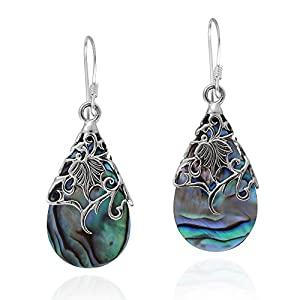 Floral Vine Ornate Teardrop Abalone Shell .925 Sterling Silver Dangle Earrings