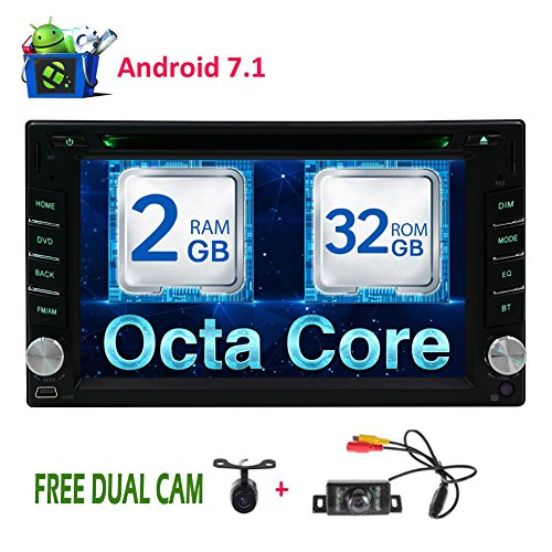 Free Dual Camera as Gifts! 6.2 inch Android 7.1 OS Car Stereo with Car DVD CD Player Double Din Head Unit support Radio GPS Bluetooth wifi Mirrorlink 64GB USB SD optional OBD2/Subwoofer/DAB/DAB+/3G/4G