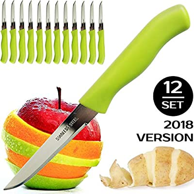 BRENIUM Paring and Garnishing Knife, Set of 12 Knives with Sharp Straight Edge 3 Inch Blade, Stainless Steel, Spear Point, Fruit and Vegetable Knifes, Green