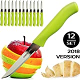 Brenium Paring and Garnishing Knife, Set of 12 Knives with Straight Edge 3 Inch Blade, Stainless Steel, Spear Point, Fruit & Vegetable, Green