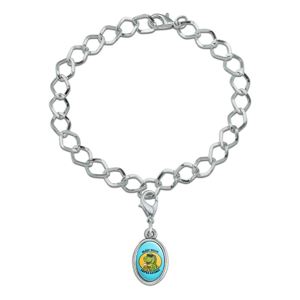 GRAPHICS /& MORE Sleep When Your Extinct Dinosaur Funny Humor Silver Plated Bracelet with Antiqued Oval Charm