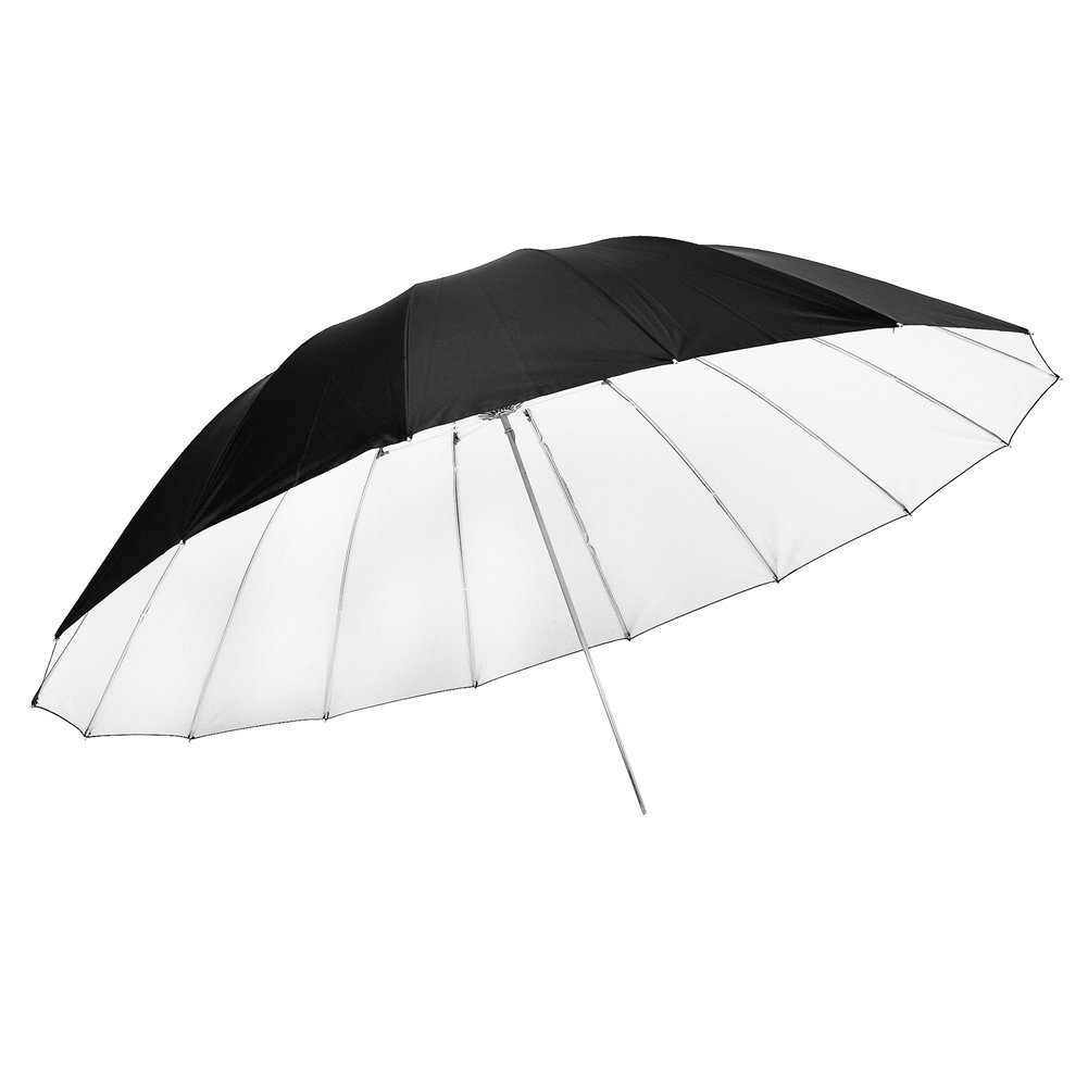 Neewer 72''/185cm Silver with Black Cover Reflective Parabolic Umbrella 16 Fiberglass Rib 7mm Shaft, includes Portable Carrying Bag