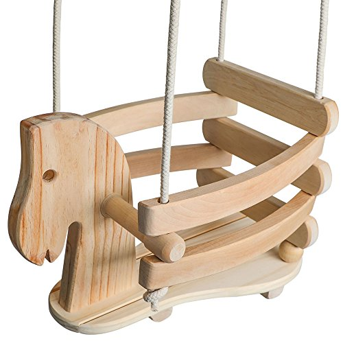 Wooden Horse Swing Set for Toddlers - Smooth Birch Wood with Natural Cotton Ropes Outdoor & Indoor Swing - Eco-Conscious Toddler Bucket Swing Chair, For Baby 6 Months to 3 - Outdoor Swing Wooden