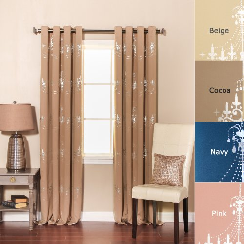 Best Home Fashion Shimmering Chandelier Foil Printed Thermal Insulated Blackout Curtains - Antique Bronze Grommet Top - Cocoa - 52