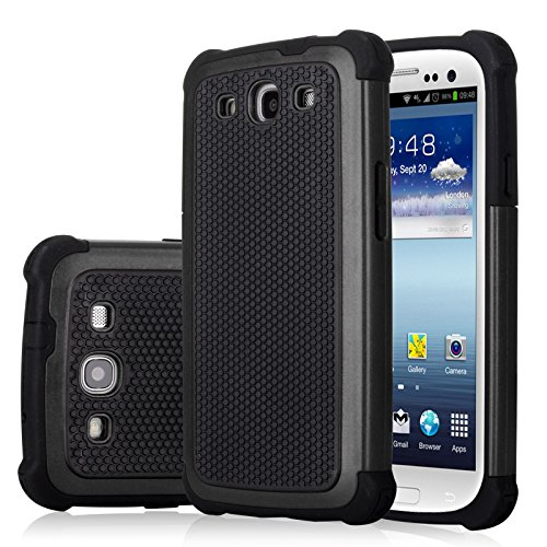 Galaxy S3 Case, Jeylly(TM) [Shock Proof] Scratch Absorbing Hybrid Rubber Plastic Impact Defender Rugged Slim Hard Case Cover Shell Samsung Galaxy S3 S III I9300 GS3 All Carriers -