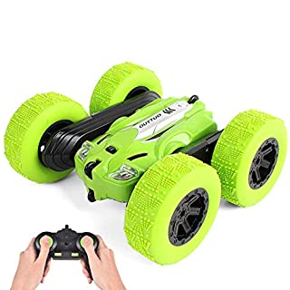 OUTTUO RC Stunt Car - 2.4Ghz Double Sided 360° Spin&Flip with LED Lights Remote Control Racing Truck 4WD for Kids(Green)
