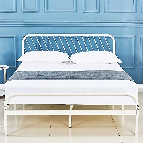 DIMOTE Metal Bed Frame Platform with Vintage Headboard and Footboard Sturdy Metal Frame Premium Steel Slat Support Full
