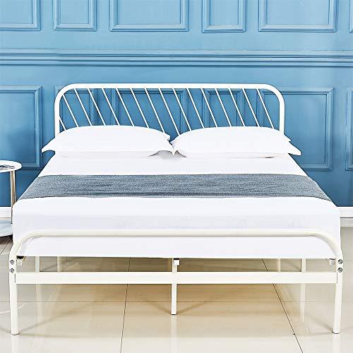DIMOTE Metal Bed Frame Platform with Vintage Headboard and Footboard Sturdy Metal Frame Premium Steel Slat Support Full
