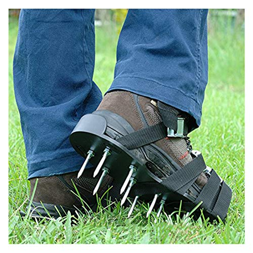 Upgraded Lawn Aerator Shoes Heavy Duty Spiked Aerating Lawn Sandals With 4 Heal Adjustable Metal Buckles Straps&1x Heal Elastic Design for Aerating Garden Yard(Gift:3 Pieces Garden Mini Tools Set) by HOTINS (Image #3)