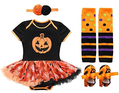 FANCYINN Halloween Tutu Dress 4 Pieces Set Pumpkin Patch Costume Outfit for Baby Girls' Infant Party 12-24 Months -