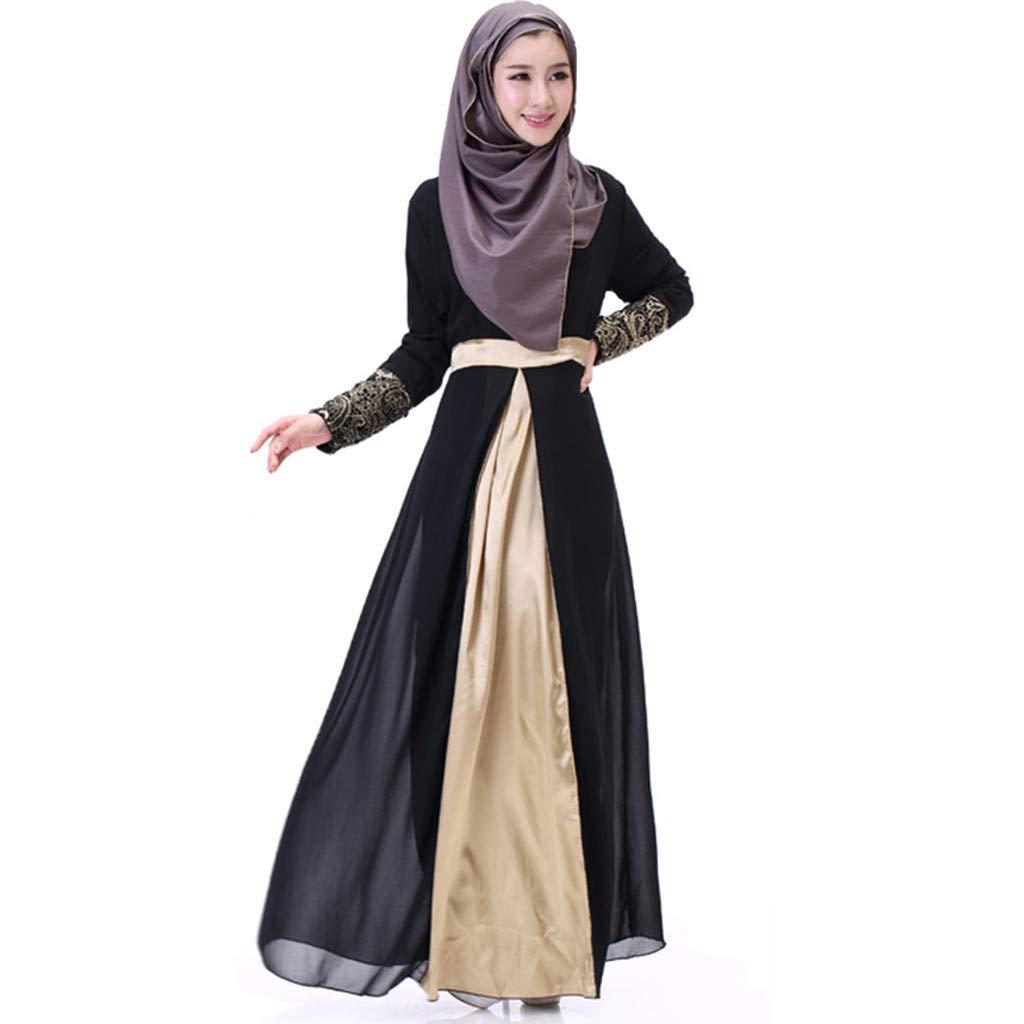 Clearance!Women Slim Fit Chiffon Dress Muslim Ethnic Style Long Sleeve Crew Neck Patchwork High Waist Double Layer Dress (XL, Black) by PaJau
