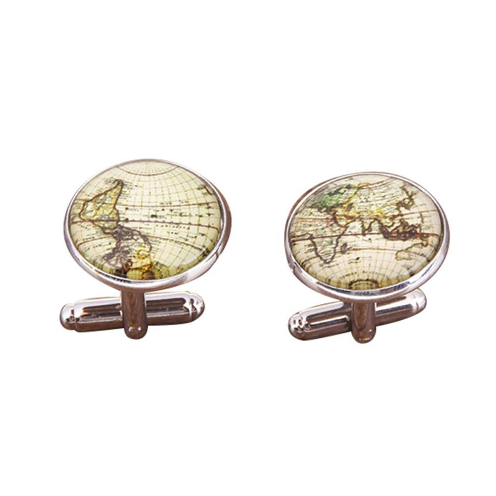 liyhh 1 Pair Men's Vintage Style Classic Design Formal Global World Map Cufflinks