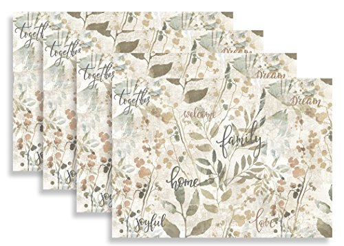 Blissful Living Set of 4 Placemats, Heat and Stain Resistant - Decorate Your Kitchen Table with Our Beautiful Rectangle pad placemat (Home & Family) (Table Kitchen For Placemats)
