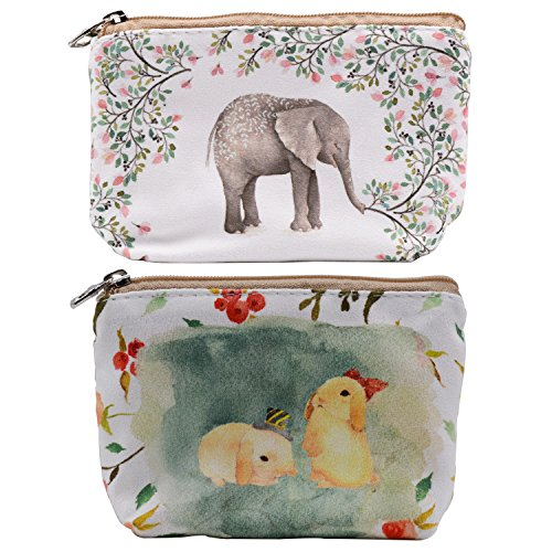 Women and Girls Cute Fashion Coin Purse Wallet Bag Change Pouch Key Holder (Two Rabbits and Forest - Fashion Rabbit