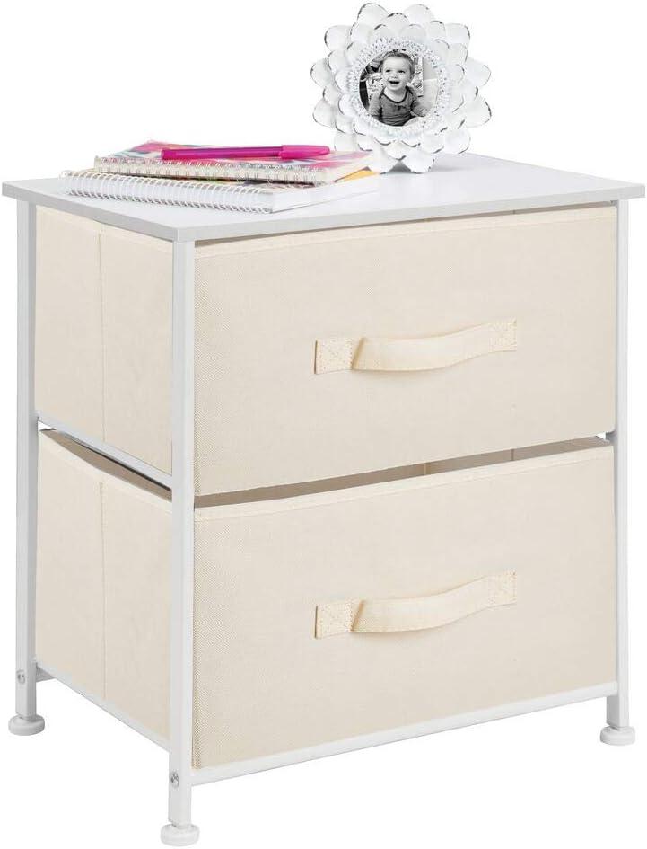 Schrank Organizer aus Stoff mDesign Nachttisch mit 2 Schubladen Aufbewahrungssystem f/ür das Schlafzimmer und den Kleiderschrank espressofarben