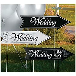 Unbranded* 3 Pieces Wedding Double Sided Road Sign Kit Ceremony Party Occasions Direction