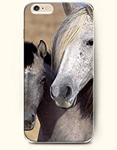 iPhone 6 Plus Case 5.5 Inches Two Horses Holding together - Hard Back Plastic Case OOFIT Authentic
