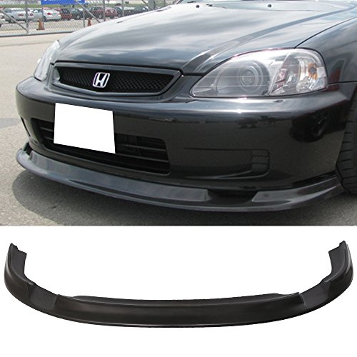 Front Bumper Lip Fits 1999-2000 Honda Civic | FM Style Black PU Front Lip Finisher Under Chin Spoiler Air Dam Chin Diffuser Add On by IKON MOTORSPORTS