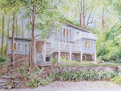 House portrait from your photo, watercolor, custom painting of your home
