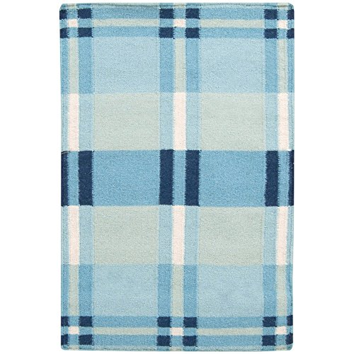 - Country Living by Surya Happy Cottage HC-5803 Transitional Hand Woven 100% Wool Blue Haze 2' x 3' Geometric Accent Rug