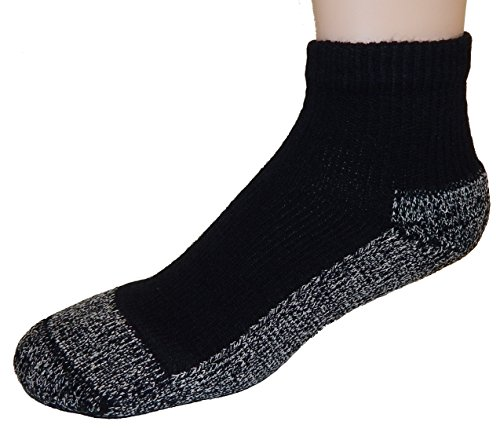 Cushees BLACK Thick Ankle Socks, 3-pack [Medium (Women or Youth large 167)]