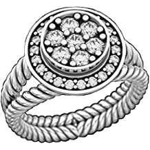 Designer Inspired 14K White Gold Plated Twisted Cable Split Shank Engagement Ring