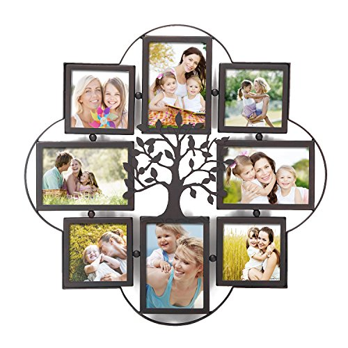 Adeco 8 Opening Decorative Iorn Metal Wall Hanging Collage Picture Frame, Made to Display 4x4 and Four 4x6 Photos or Print, Black (Wall Tree Photo Frame)