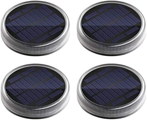 Solar Deck Lights, Ground Driveway Walkway Dock Light Solar Powered Outdoor Waterproof Stair Step Pathway LED Lamp for Backyard Patio Garden, auto On Off – Warm White – Round – 4 Pack