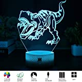 HUI YUAN T-rex 3D Visual Illusion Night Light Xmas Chirstmas Halloween Birthday Valentines Day Children Gift Nursery Bedroom Table Night Lamps Decor for Boys Kids T-rex Lover by (Tyrannosaurus Rex)