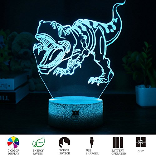 HUI YUAN T-rex 3D Visual Illusion Night Light Xmas Chirstmas Halloween Birthday Valentines Day Children Gift Nursery Bedroom Table Night Lamps Decor for Boys Kids T-rex Lover by (Tyrannosaurus Rex) by HUI YUAN