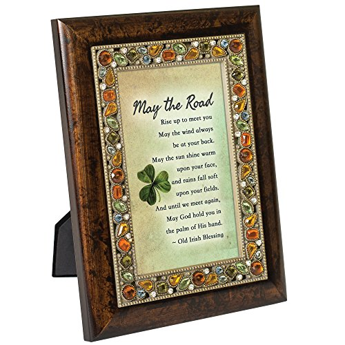 Irish Blessing Emerald Green Finish Jeweled 4x6 Framed Art Plaque