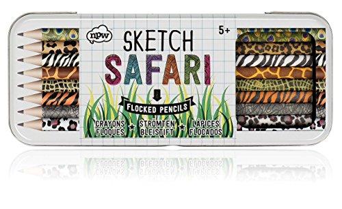 NPW Sketch Safari Fuzzy Pencils in Tin Case, Set of 8