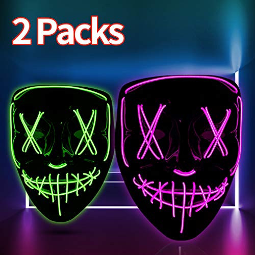 HWG Halloween Light Up Mask 2 Packs [Green+Purple], LED Scary Purge Masks for Halloween Masquerade Festival Cosplay Party Costume