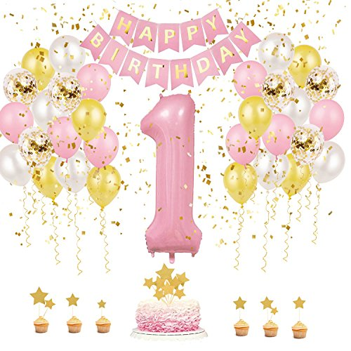 First Birthday Party Decorations, First Birthday Outfit Girl by KeaParty, Happy Birthday Banner, Birthday Balloons, Cake Topper, Number 1 Balloon, 1st Birthday Supplies