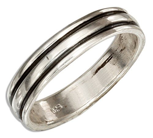 Sterling Silver 4mm Band Ring with Black Stripes (size 08)