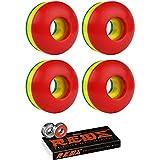 Skateboard Wheels 102A 50mm Rasta Tri-Color with BONES REDS BEARINGS