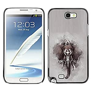 LOVE FOR Samsung Note 2 N7100 Elephant African Indian Painting Grey Personalized Design Custom DIY Case Cover