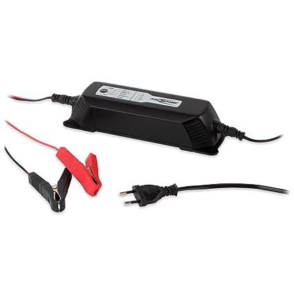 ANSMANN Cargador de baterías para vehículos ALCT 6-24/4-2V, 12V y 24V - Corrientes de Carga Flexible 1A, 2A o 4A - Batería Universal - Negro