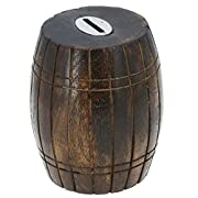 Antique Inspired Barrel Shaped Wooden Money Holder Coin Bank for Kids by ShalinIndia