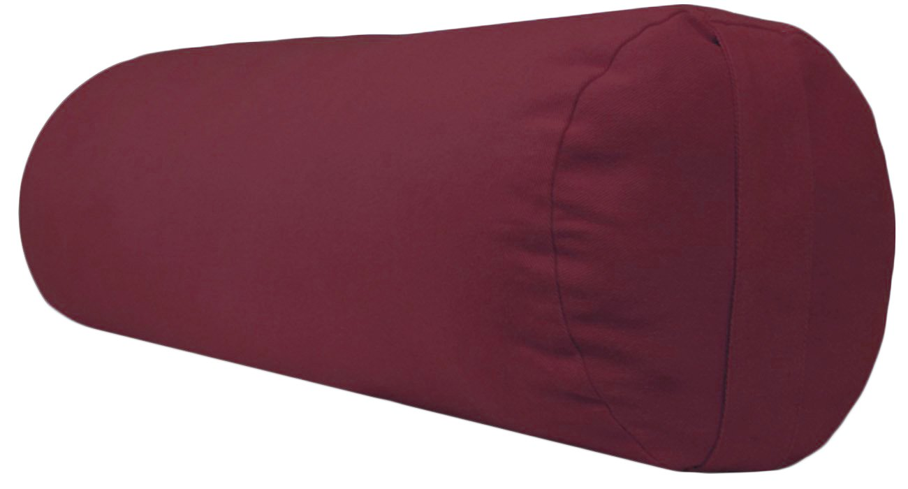 YogaAccessories Supportive Round Cotton Yoga Bolster (Burgundy)