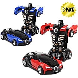 Xhaiz Toy Cars, Transformers One-step, 2-pack (001 Red & Blue)