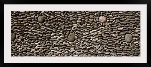 GreatBIGCanvas ''Decorated wall of a temple, Tulamben, Bali, Indonesia'' Photographic Print with Black Frame, 48'' x 17'' by greatBIGcanvas