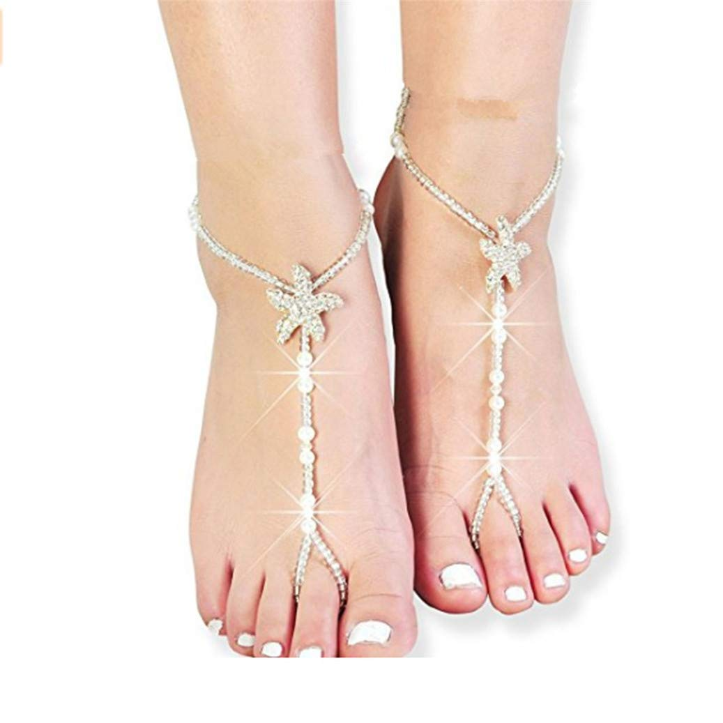 GOMYIE 1pcs Women Crystal Imitation Pearl Ankle Chain Barefoot Sandals with Starfish Beach Wedding Foot Jewelry White