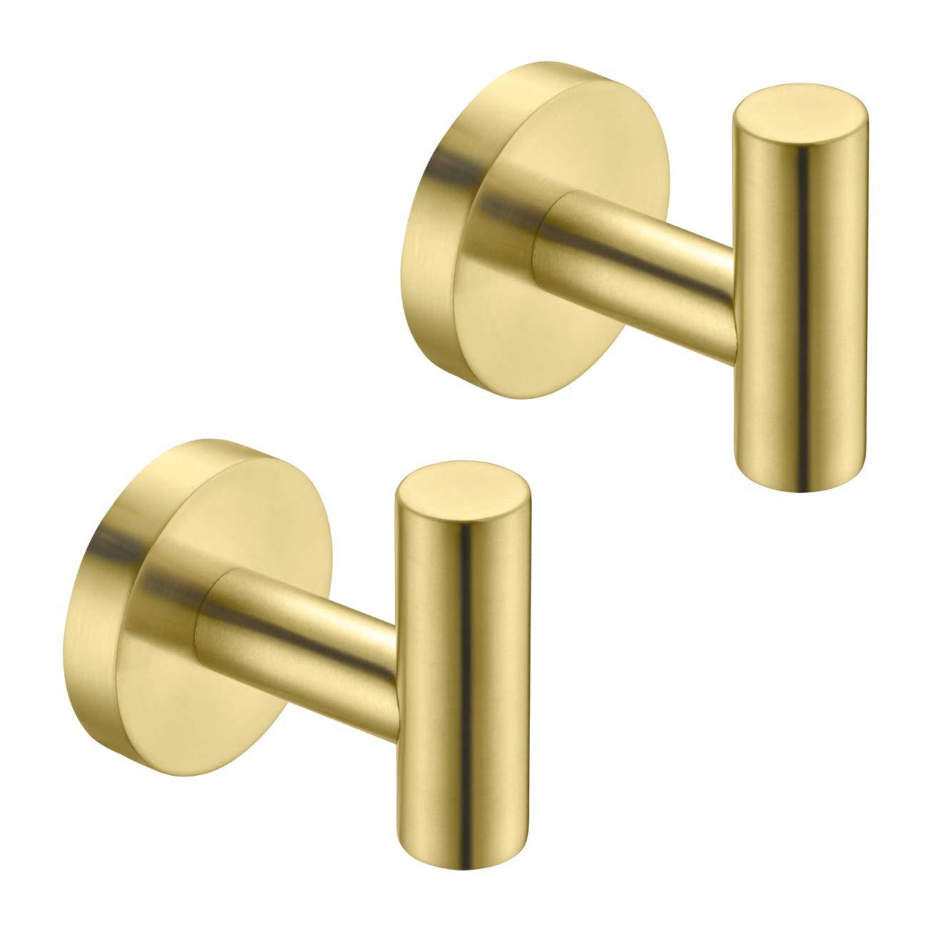 Hoooh Bath Towel Hook - Bathroom Lavatory Wall Mount Single Coat and Robe Hook SUS304 Stainless Steel 2 Pack, Brushed Gold, B100-BG-P2