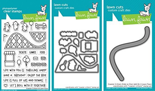 Lawn Fawn - Coaster Critters - Stamp and Dies Set - Coaster Critters Stamp, Die and Slide On Over Add-On Die - 3 Item Bundle