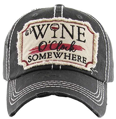 Women's It's Wine O'Clock Somewhere Vintage Baseball Hat Cap (Black)