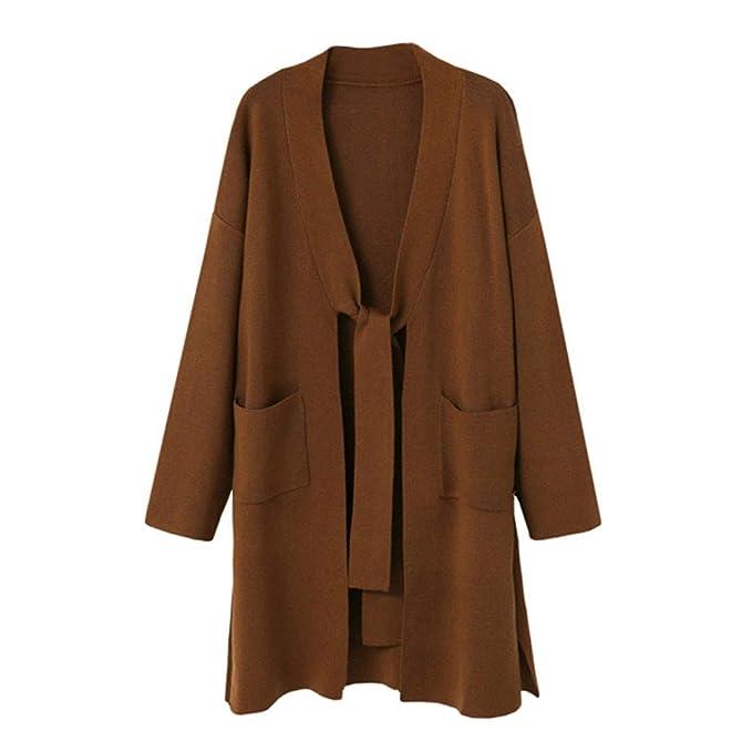 Fanxing Damen Wintermantel Loose Fit Long Sleeve Strickjacke Mantel Tops  (S, Braun) 4649647d35
