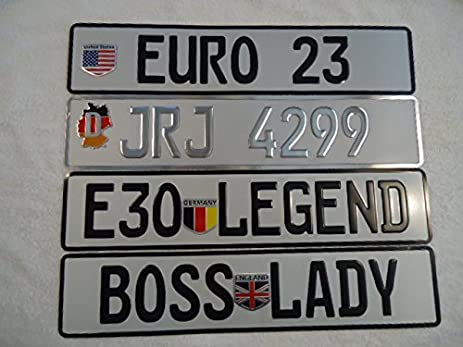 Amazon Custom Personalized Euro German Style License Plates