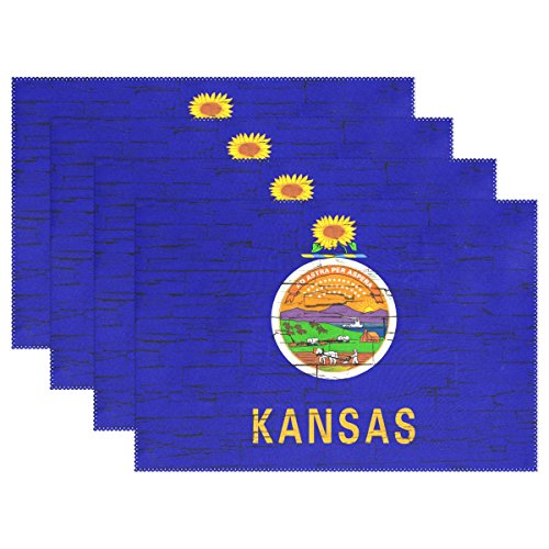 CoolPrintAll Distressed Kansas State Flag Placemat Table Mat, 12